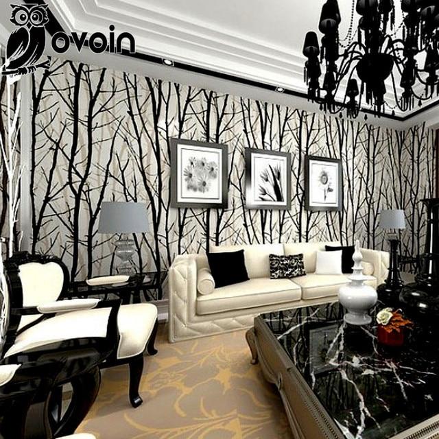 Holz Tapete Birke Wald Schwarz Weiß Schlafzimmer Tapeten Silber Papier Wand  Rolle