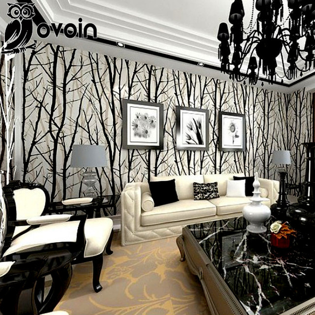 Wood Wallpaper Birch Tree Forest Black White Bedroom Wall Paper Silver Roll