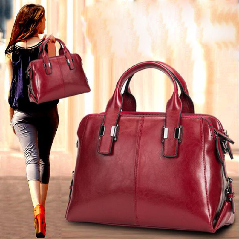 Real Cow Leather Ladies <font><b>HandBags</b></font> Women Genuine Leather bags casual fashion Classic Totes Messenger Bags Designer Luxury Bag