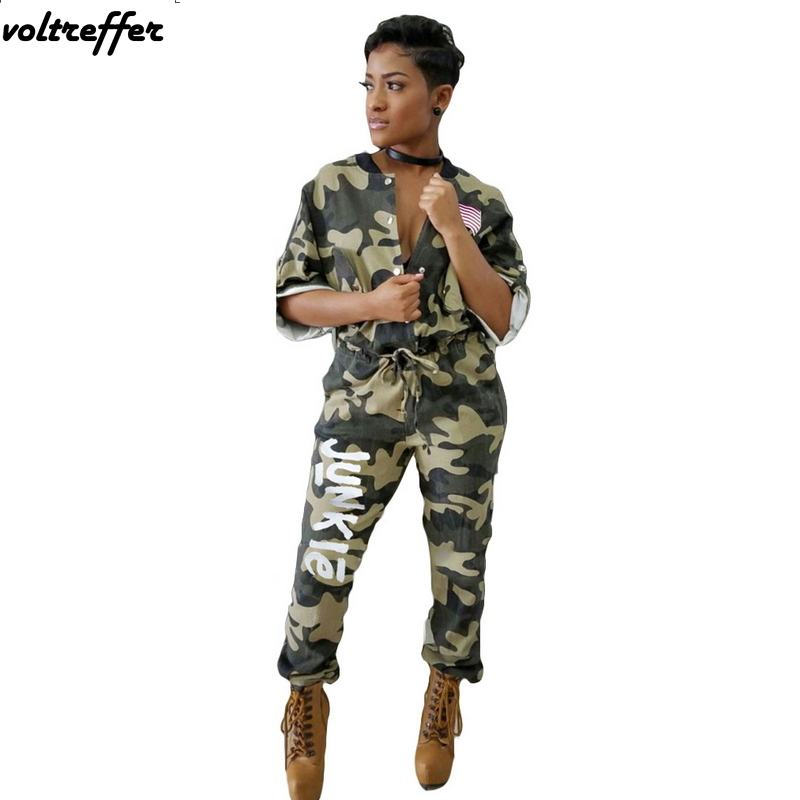 Army Green American Flag Letter Offset Camouflage Print Rompers ...