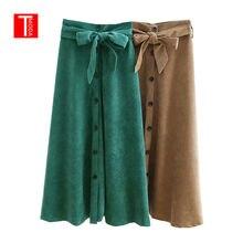 1fcd5b08d8c Automne femmes Vintage couleur unie boutons velours côtelé Midi jupe Faldas  Mujer dames arc attaché ceintures