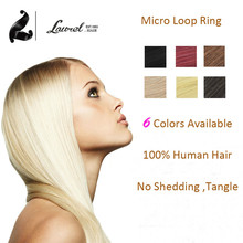 2015 Hot Micro Loop Ring Links Remy Straight Human Hair Extensions Virgin Hair 50g 6# 1B #16#27 #613 Hair 16/18/20/22 /24inches