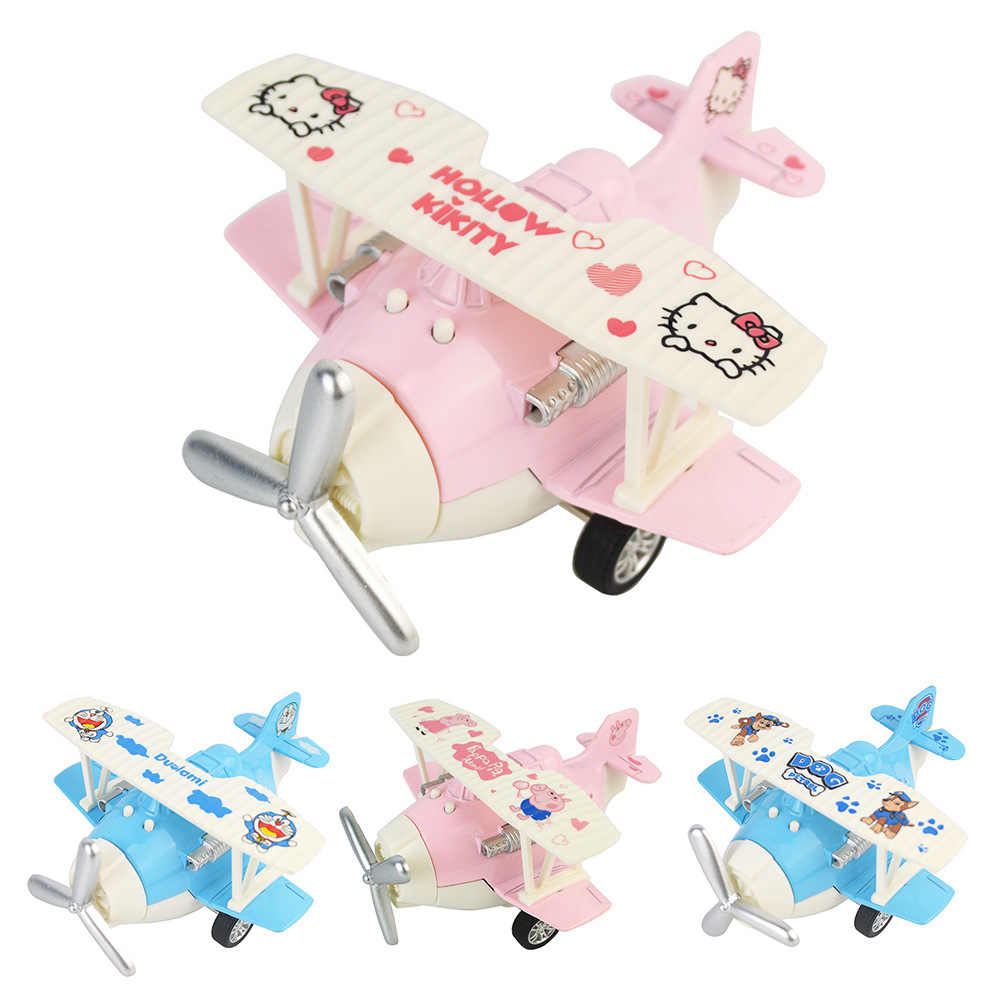 Hello kitty Mini size plane 1:64 scale cute plastic plane with pull back and light function doraemon model toys for kids gift