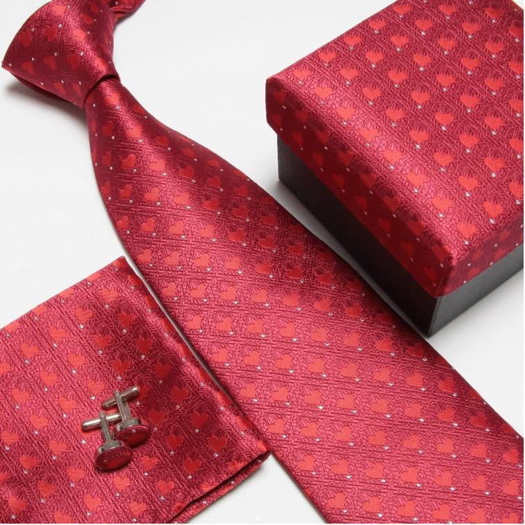 Мужская мода высокого качества полосатый набор галстуков галстуки Запонки hankies шелковые галстуки Запонки карманные носовые платки - Цвет: 4