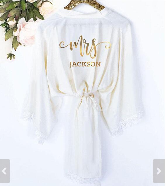 ae422fd1dd9 personalised lace bride wedding Bridesmaid bridal Lingerie satin pajamas  robes Bachelorette kimonos gowns gifts party favors