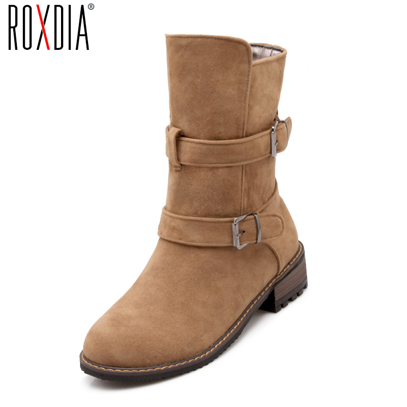 ROXDIA New Fashion Autumn Winter Women Mid-Calf Boots Solid Flock Woman Shoes Ladies Shoe Plus Size 36-43 RXW019 double buckle cross straps mid calf boots