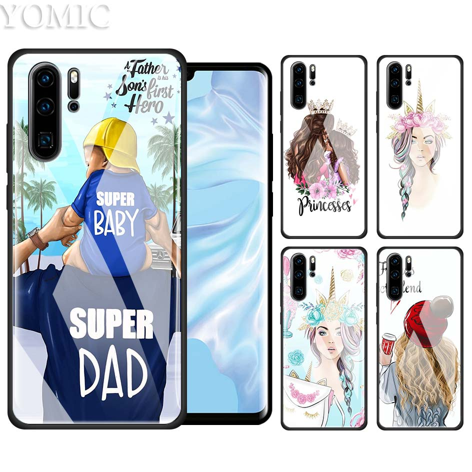 Tempered Glass Case for Huawei P20 P30 P10 Mate 10 20 Lite Pro Honor 8X 20Pro Luxury Phone Coque Cover Baby Mom My Queen Unicorn