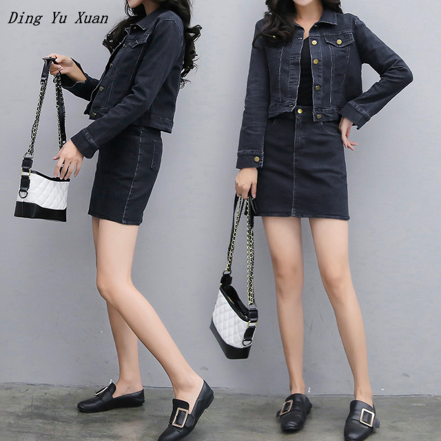 Black Casual Short Denim Jacket with Jean Skirt Autumn Spring Women Jeans Jacket Long Sleeve Streetwear Plus Size Skirt Suit 5XL
