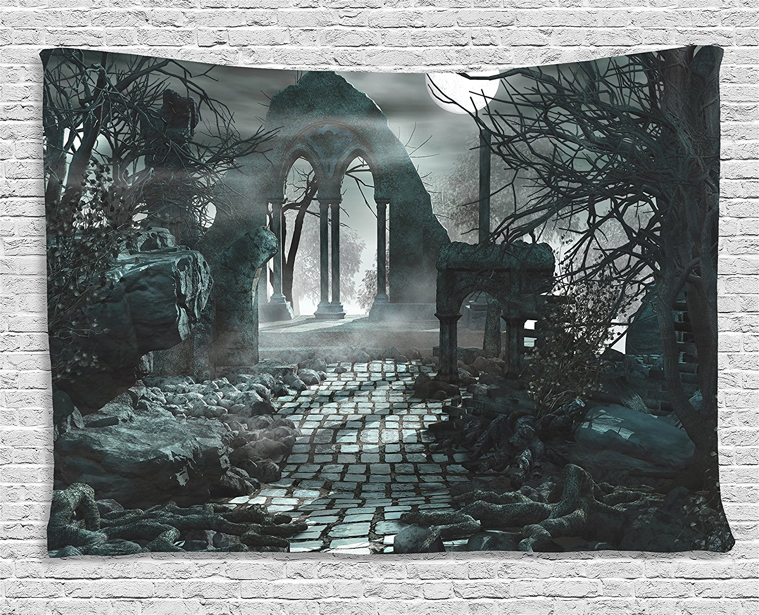 Gothic Decor Tapestry Full Moon Light Over Medieval Temple Ruins