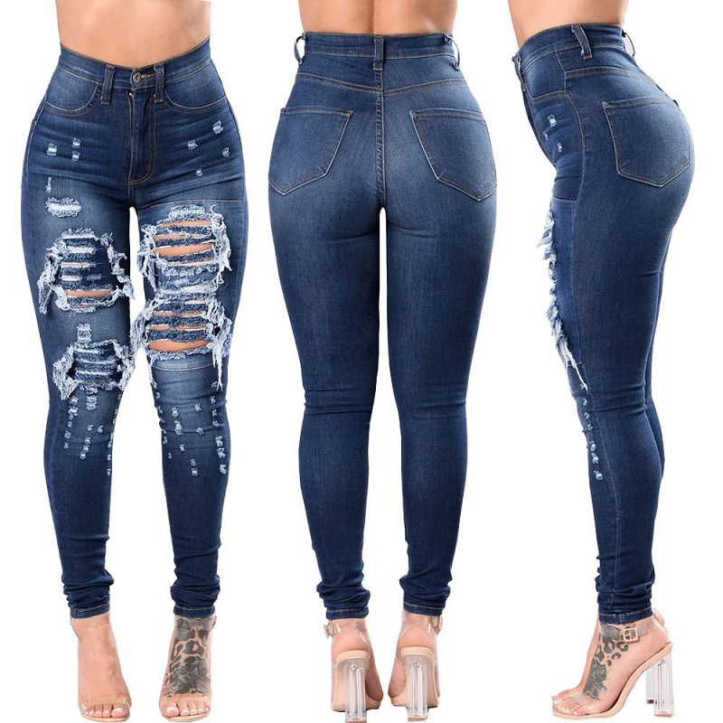 2019 New Fashion casual Ultra Stretchy Blue Ripped   Jeans   Woman Denim Pants Trousers For Women Pencil Skinny   Jeans