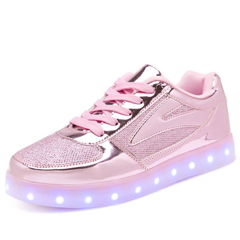 26-40  Size USB Charging Basket Led Children Shoes With Light Up Kids Casual Boys&Girls Luminous Sneakers Glowing Shoe Pink Gold glowing sneakers usb charging shoes lights up colorful led kids luminous sneakers glowing sneakers black led shoes for boys