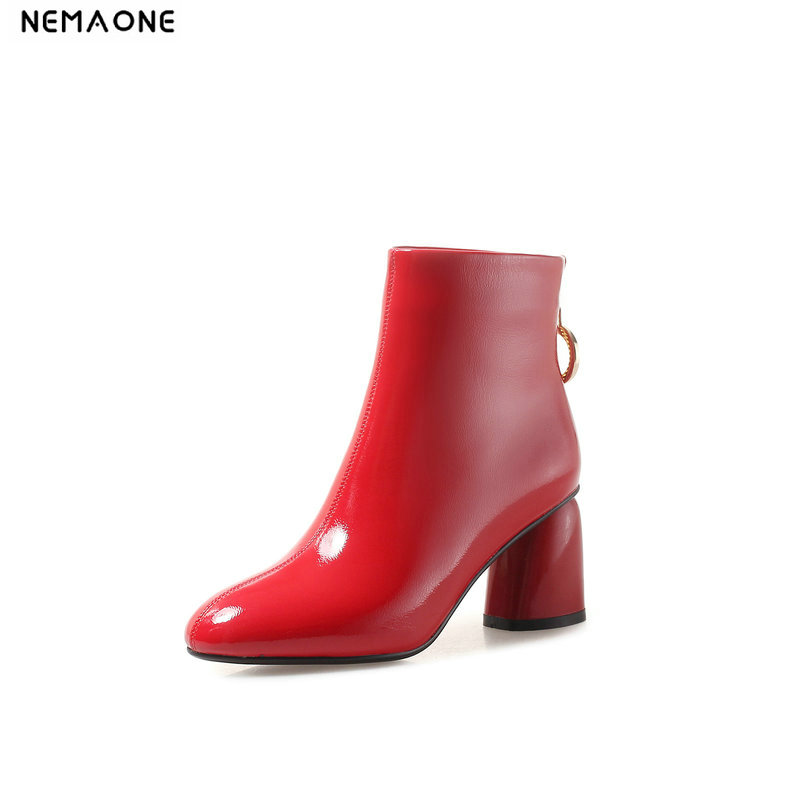 NEMAONE Women high Heels Ankle Boots Fashion women dress shoes Keep Warm winter boots for office ladies Black Red large size 43 fashion viscose vest style dress for women black multicolor size l