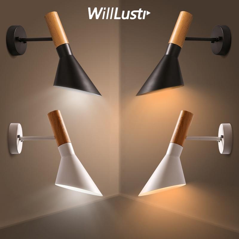 aj lampada de parede moderna arandela willlustr design padrao de madeira da grao de metal lampadas