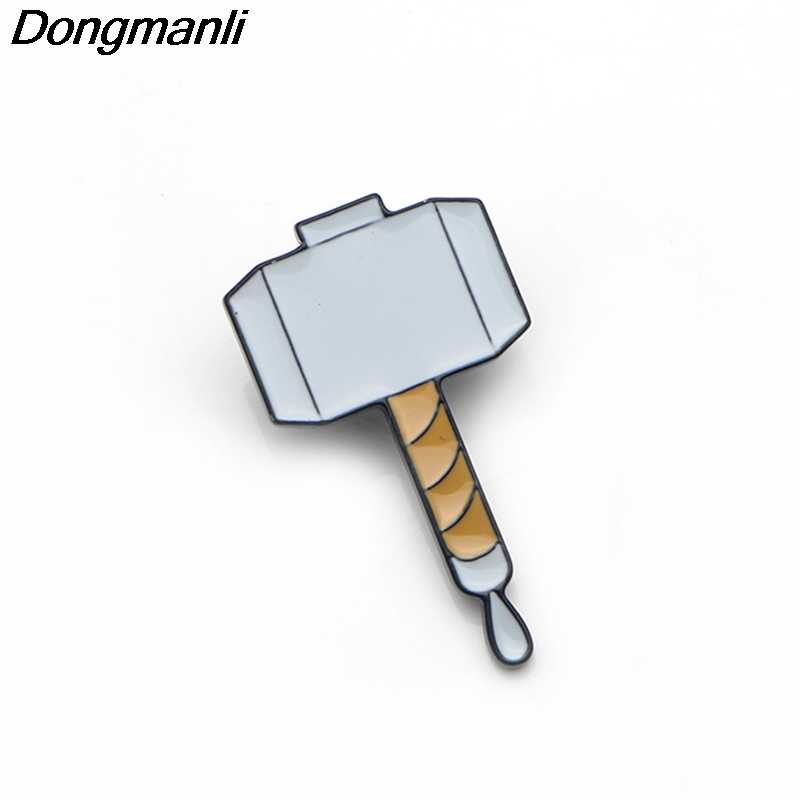 P3573 Dongmanli  Thor hammer Metal Enamel Pins and Brooches for Fashion Lapel Pin Backpack Bags Badge Gifts