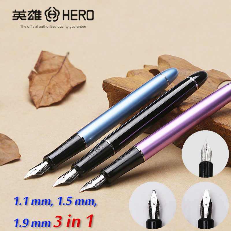 Hero 5028 3 nibs 3 in 1 metal calligraphy pen art pen parallel pen gothic Arabic Italic Uncial replacement 1.1 1.5 1.9 mm