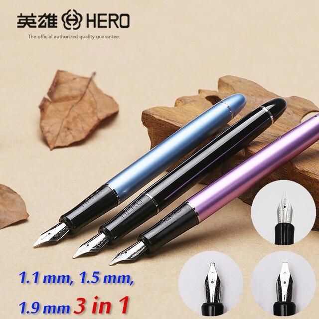 Hero 5028 3 nibs 3 in 1 metal calligraphy pen art pen parallel pen gothic Arabic Italic Uncial  replacement 1.1 1.5 1.9 mm