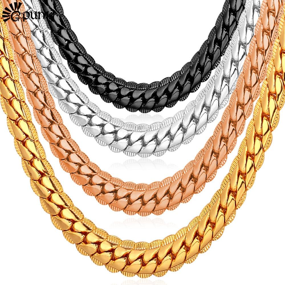 Men Chain Necklace Punk Black Gold colors