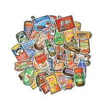 Td Zw 50 Stks/partij Grappige Merk Snacks En Drankjes Graffiti Stickers Voor Laptop Auto Pad Bagage Telefoon Fiets Decal Speelgoed sticker