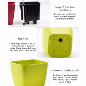 Image 4 - Creative Automatic Water Absorption flowerpot for Desktop Indoor Office decoration Large Plastic Lazy flower Pot Hydroponics