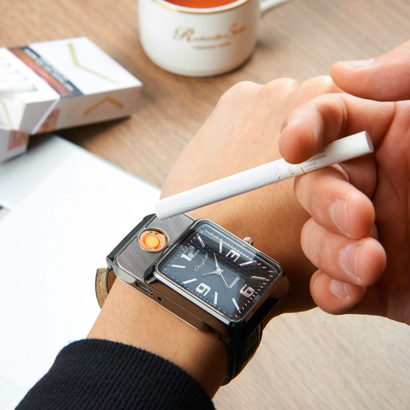 2017 Military Lighter Watches Man Quartz Sports Refillable Gas Cigarette Cigar Men Watches Luxury relogio masculino digital 26-0