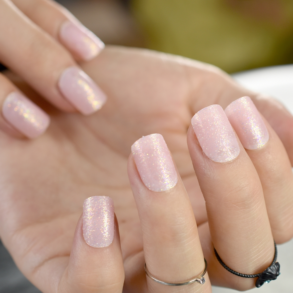 Baby Pink Short False Nails Tips Light Pink with Shimmer Glitter ...