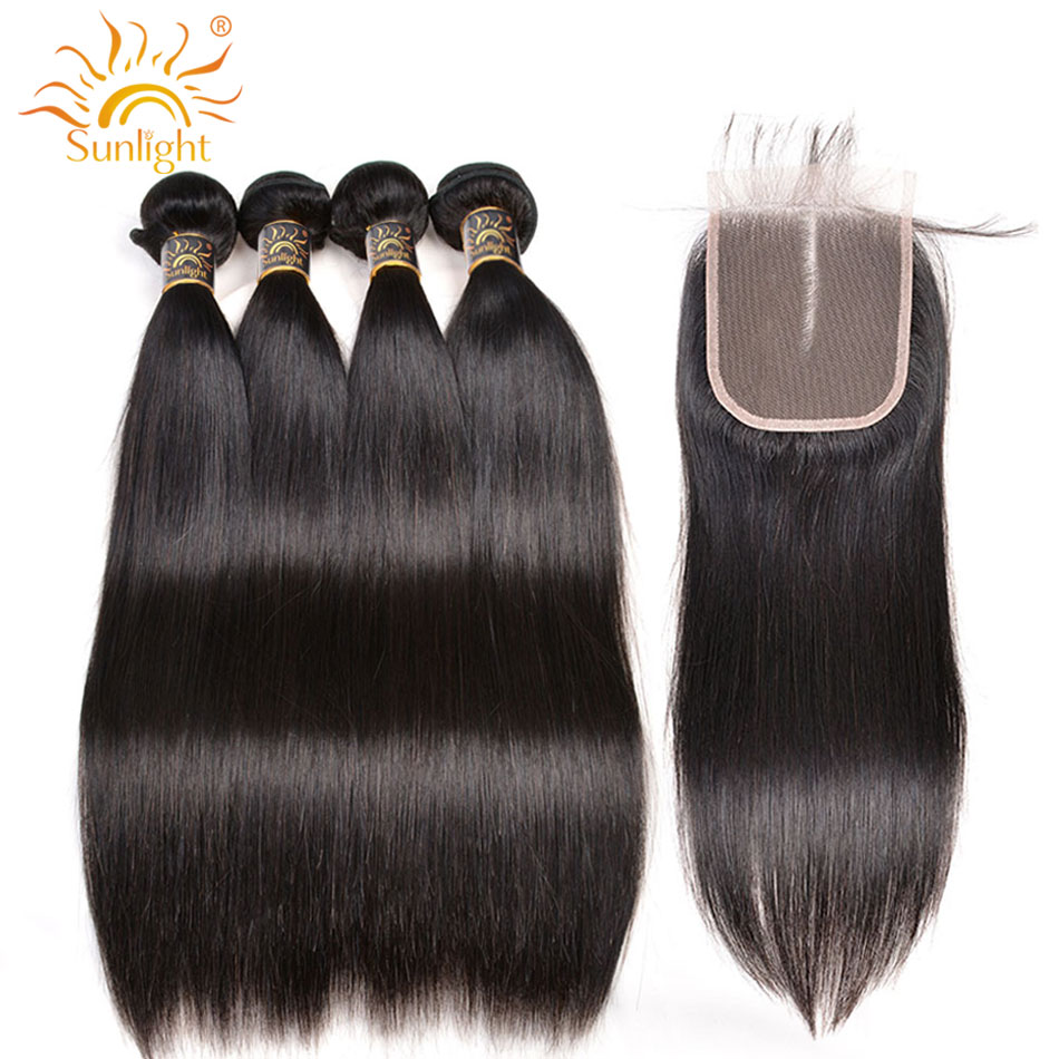 Brazilian Straight Hair Bundles With Closure Remy Human Hair Weave Bundles With Closure Middle Part Sunlight