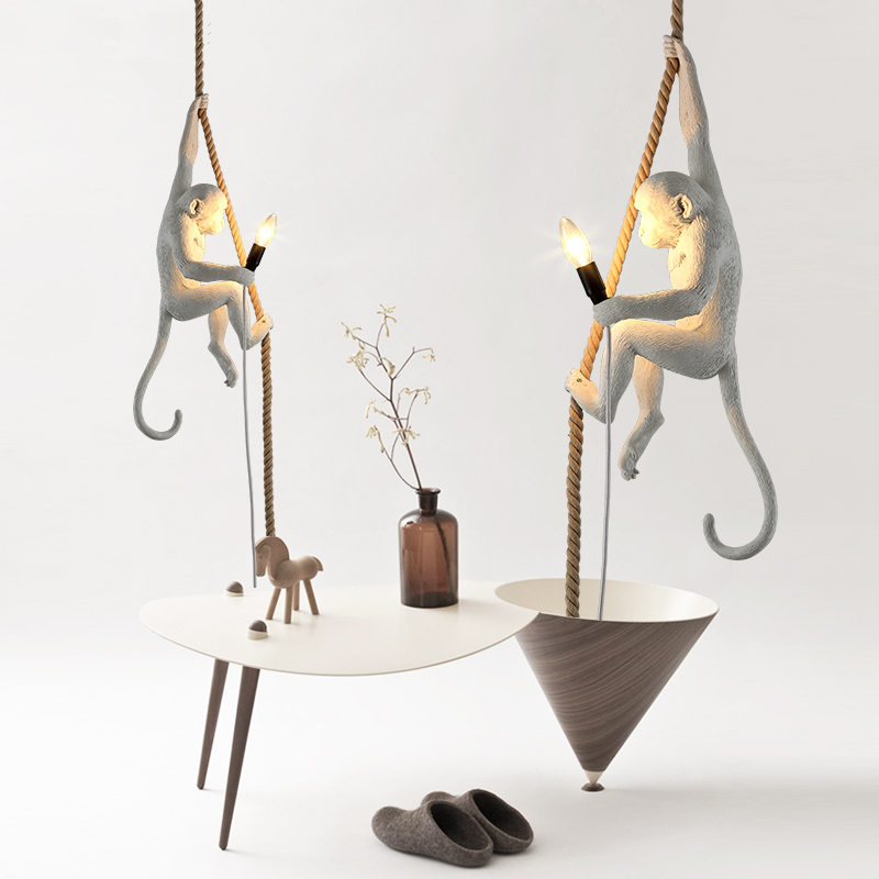 Nordic Retro Creative lamps Industrial Wind Restaurant hanging lights Bedroom Cafe Monkey Pendant Lights nordic retro industrial wind restaurant