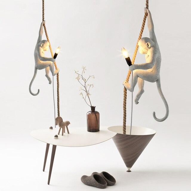Nordic Retro Creative Lamps Industrial Wind Restaurant Hanging Lights  Bedroom Cafe Monkey Pendant Lights