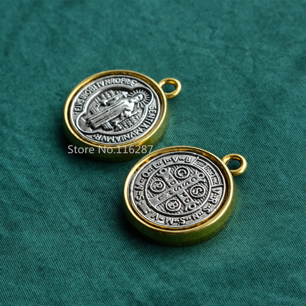8a7ce179bf9 Catholic Religious Gifts antique St saint Benedict Medal two side big Pendant  alloy gold plated Diameter