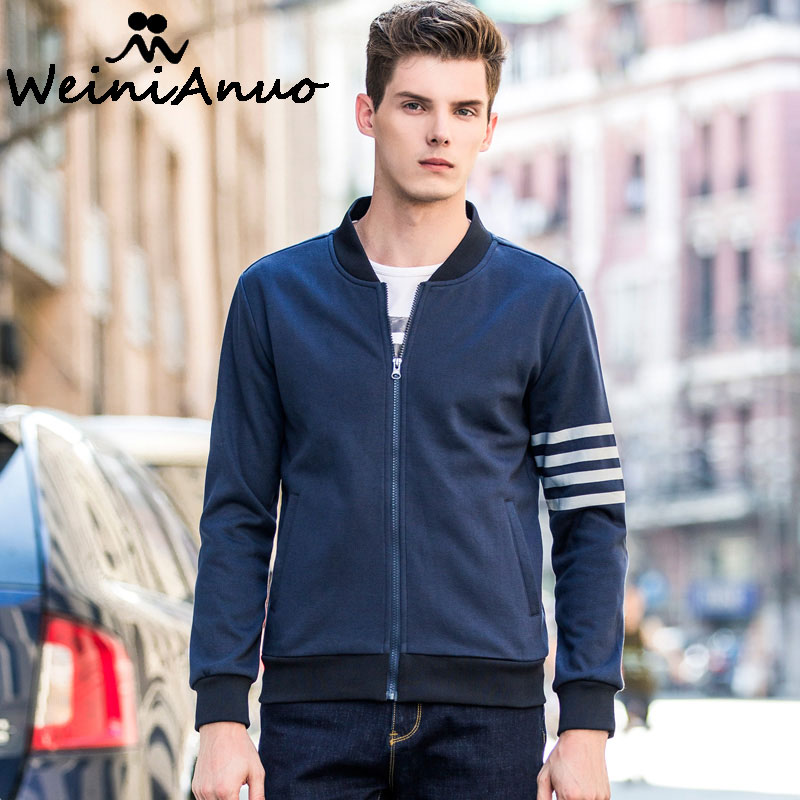 Weinianuo Толстовки с капюшоном на молнии Новая мода Демисезонный куртка  Vogue Толстовки Для мужчин бренд Бейсбол 7def00984e9