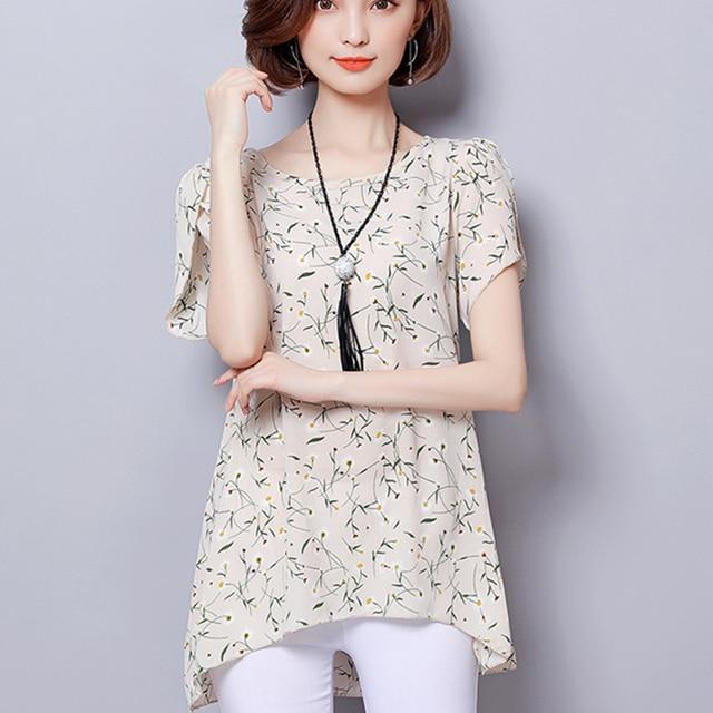 f821d0c70 2018 Moda Blusa Chiffon Mulheres Verão Pétala Camisa de Manga Impressão das  Mulheres de Vestuário Senhoras