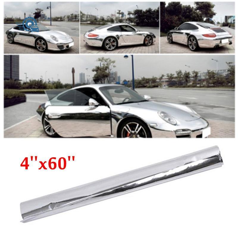 IZTOSS 4 X 60 Inches Film Decal DIY Silver Trim Car Stickers Auto Mirror Chrome Silver Protective