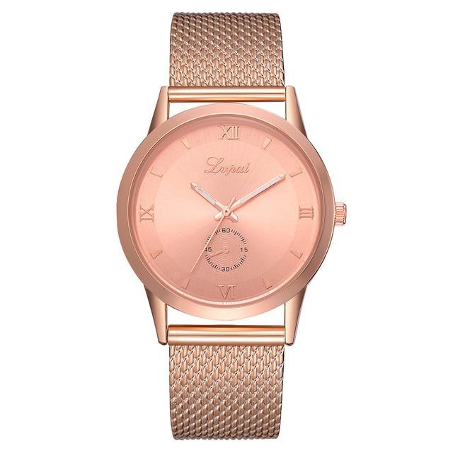 Luxury Fashion Women Watches Rose Gold Alloy Belt Mesh Quartz Wristwatch Elegant