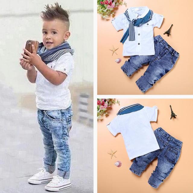 31b79c8e587 Fashion Gentle Boy Kid Clothes Outfits Set Lovely Child Short Sleeve T-shirt  Denim Pant Scarf 3pcs set