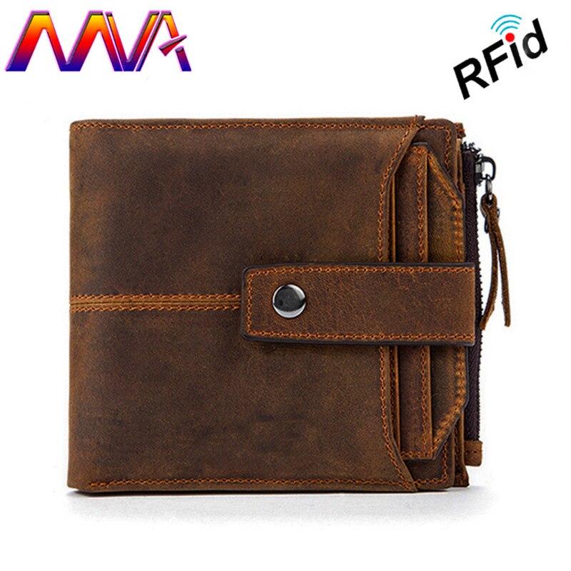MVA Hot sale RFid Leather men wallet with 100% genuine leather men cross wallet men vertical wallet for fashion men short wallet