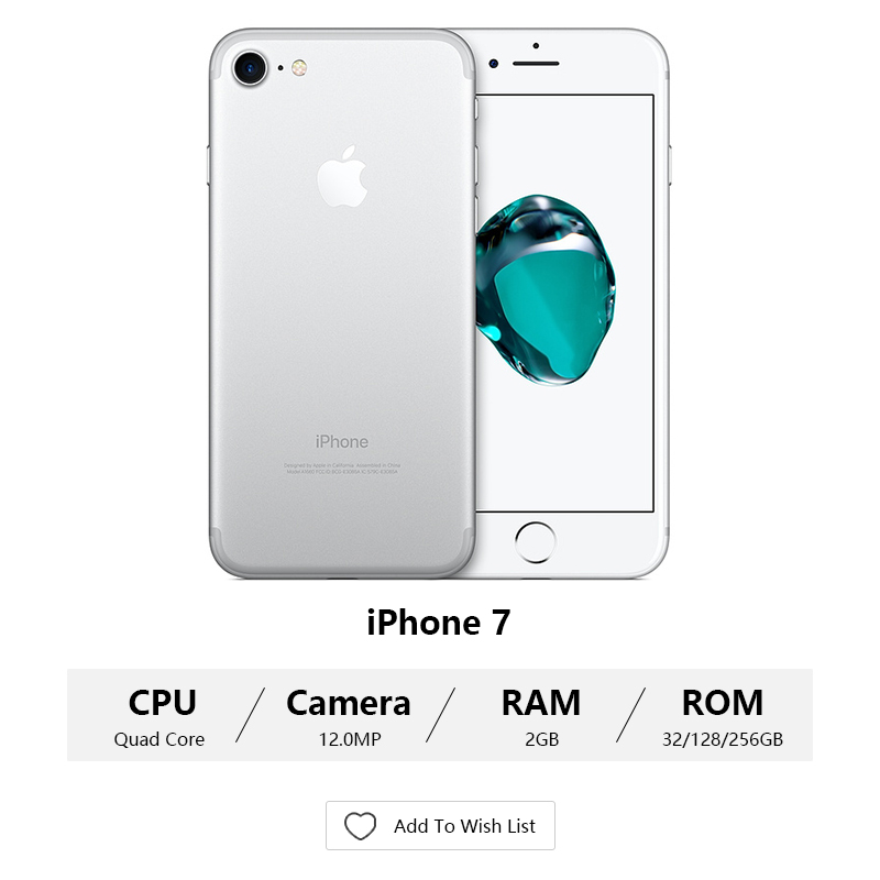 Original Apple Iphone 7/7 Plus 2GB RAM 32/128GB/256GB IOS 10 LTE 12.0MP Camera Quad Core Fingerprint 12MP Cell Phones