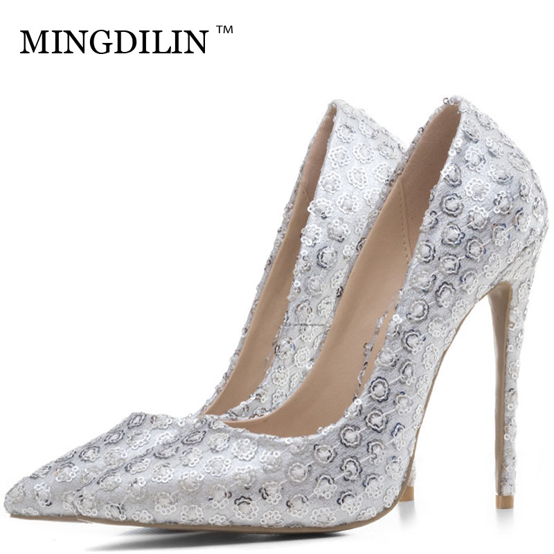 MINGDILIN Sexy Women's Silvery High Heels Shoes Plus Size 33 43 Woman Heel Shoes Pointed Toe Wedding Party Pumps Stiletto Stripe mingdilin stiletto women s golden pumps wedding high heels shoes plus size 43 party woman shoes fashion sexy pointed toe pumps