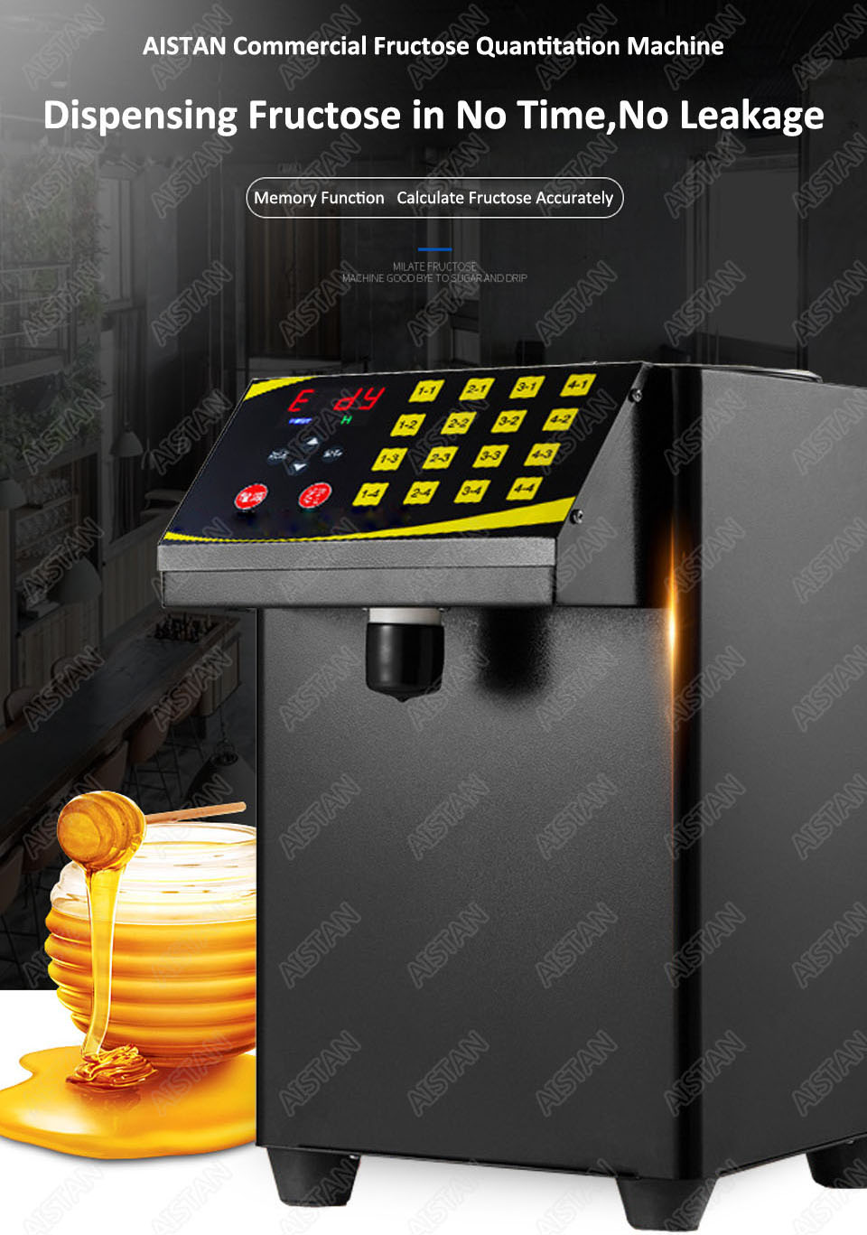 RC16 8L stainless steel commercial fructose quantitation machine for milk tea shop and coffee shop 6