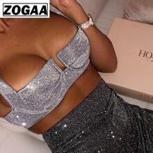 ZOGAA Sexy Sliver Shiny Reflective Crop Tops 2019 Summer Women Sleeveless Backless Zipper Slim Tank Party Club Short Vest