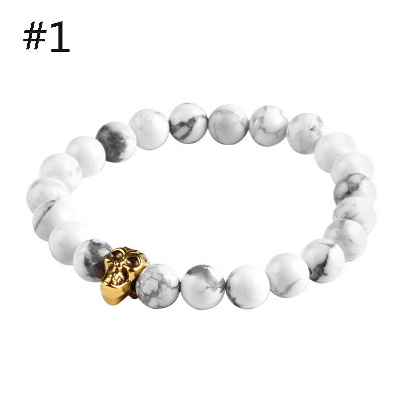 Unisex Newest Fashion Natural Stones Skull Strand Blue Stone Candy Color Men And Women Elastic Chain Bracelets