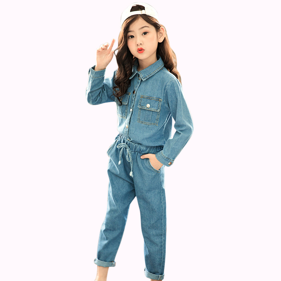 Women Garments Swimsuit Denim Informal Youngsters Clothes Teen Spring Women Set For four 6 8 12 14 Years Costume For Youngsters High+Pants 2 Pcs Clothes Units, Low-cost Clothes Units,...