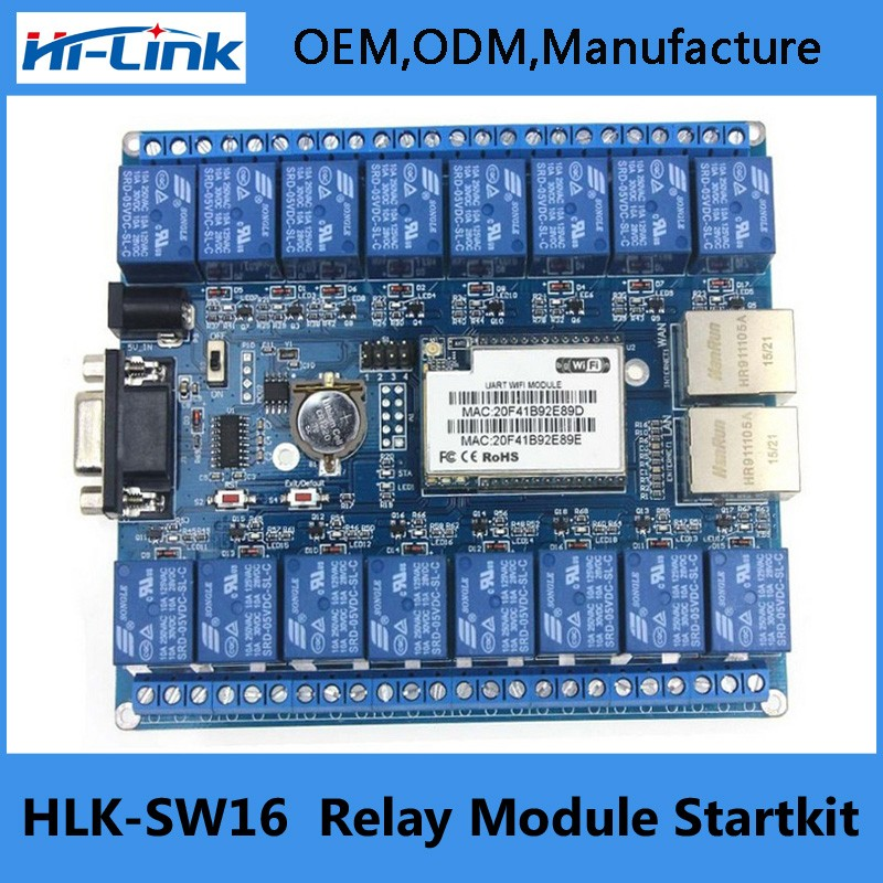 Q132 HLK-SW16 16 Channel Remote Control Relay P2P Wireless WIFI Module Board Smart Network Relay Control Switch 5V TCP/IP RS232 5v 2 channel ir relay shield expansion board module for arduino with infrared remote controller
