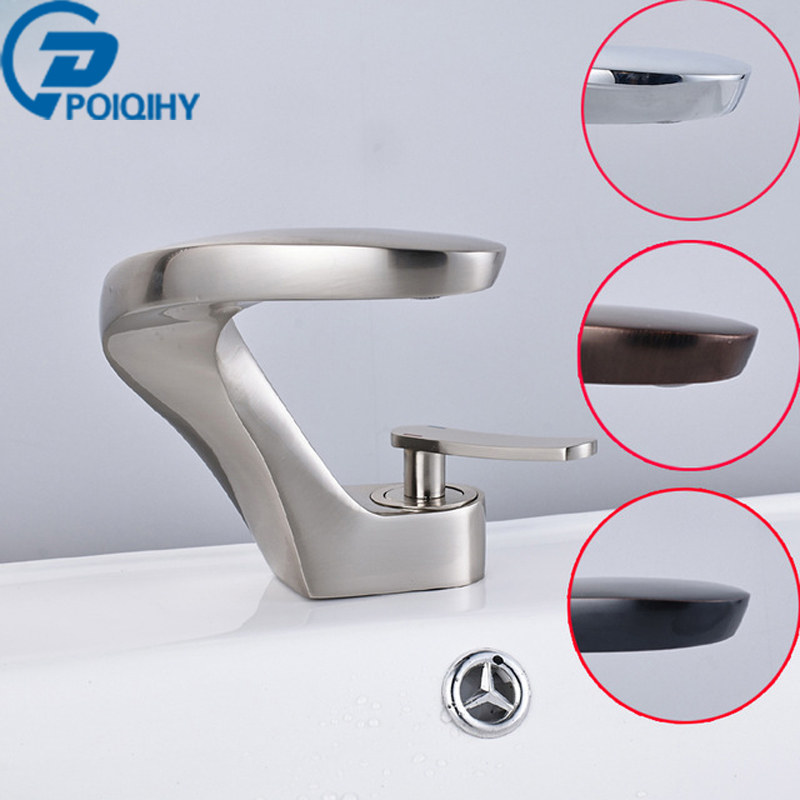 POIQIHY modern washbasin design ORB/Nickel brushed Bathroom faucet mixer waterfall Hot and Cold Water taps for basin of bathroom цена
