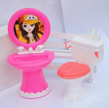 Kid's Doll House Toys Doll Accessories Plastic Wash Basin + Toilet Set For Barbie Dolls For Kali Dolls