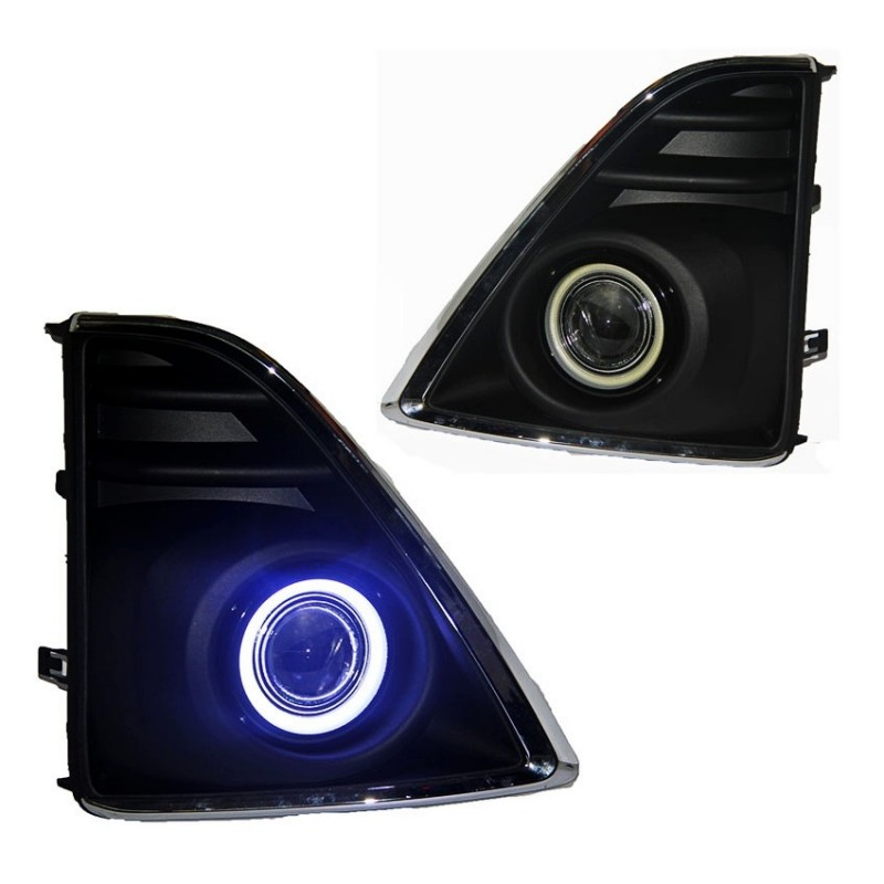 For Toyota Yaris 2013-2016 COB Angel Eyes DRL Yellow Signal Light H11 Halogen / Xenon E13 Fog Lights with Projector Lens