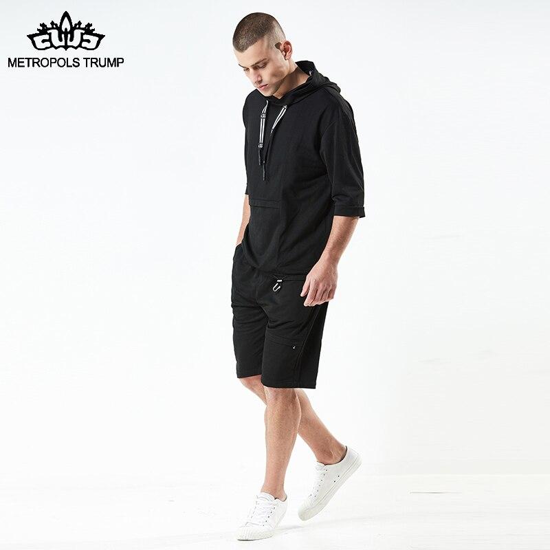 Långärmad tröja Set 2018 Sommarman Shorts Set Kortärmad tröja + - Herrkläder - Foto 5