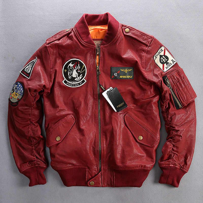 2018 nuevas chaquetas de cuero genuino para hombres 100% piel de cabra auténtica Multi-etiquetado bordado cuello redondo chaquetas de motociclista