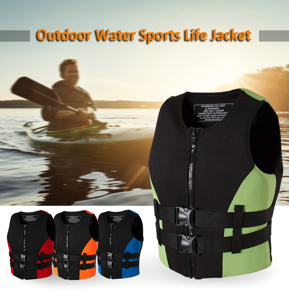 Neoprene Fishing Life Jacket Watersports Kayaking Boating Drifting Safety Life Vest Water Sports Safety Man Jacket XXL Size-in Fishing Vests from Sports & Entertainment