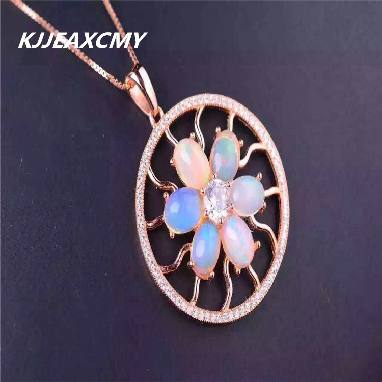 KJJEAXCMY boutique jewelry,Multicolored jewelry natural Opal Pendant 925 female Silver Rose Gold Plated fine style