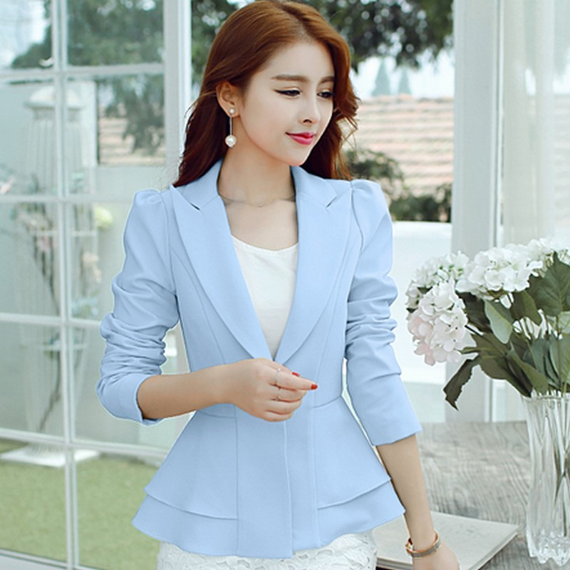Fashion 4 Colors Womens Blazers Slim Long-sleeved Office Ladies Brazzers New Spring Plus Size S-2XL Wild Short Leisure Blazers